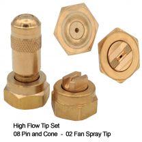 High Flow Tip Set Brass 08 Pin/Cone, 8002 Fan