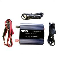 Inverter 12v to 120v  250 Watts c/w..USB, Cigarette and Clamp Connection Types