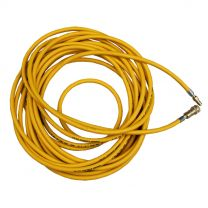 25 Foot Yellow Single Air Line Extension Hose c/w Brass QD Fittings
